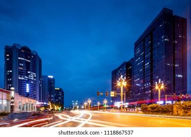 Chinese city night traffic