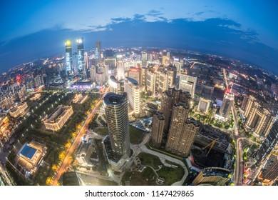 Chinese city overlooking fisheye