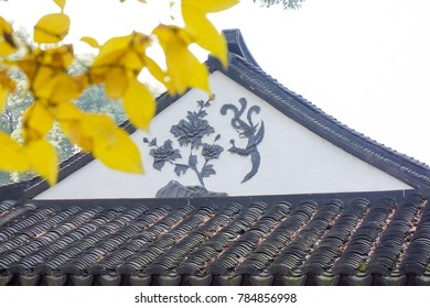 Chinese classical architecture and blooming plum blossoms