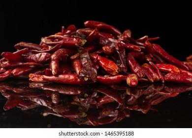 Chinese common spicy seasoning, pure black background dry chili mountain goods seasoning black base map