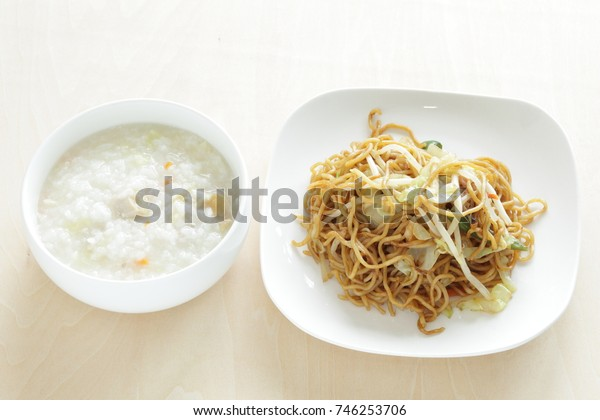 Chinese congee and fried noodle