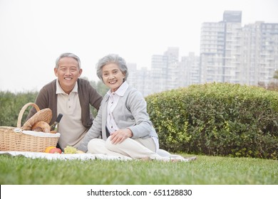 Chinese couple having picnic in city park