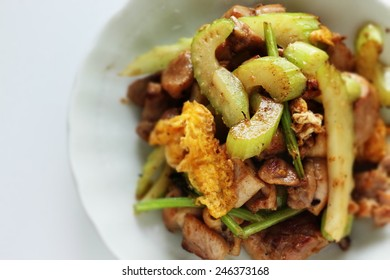 Chinese cuisine, celery and chicken stir fried