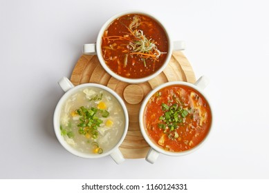 Chinese Cuisine fresh and healthy soups, Chicken corn soup, vegetable & Hot and sour soup