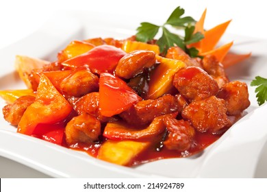 Chinese Cuisine - Pork with Pineapple Deep Fried in Sour-Sweet Sauce