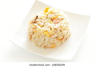 Chinese cuisine, salted salmon and egg fried rice
