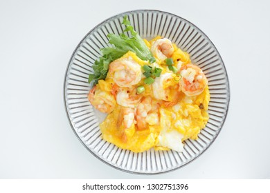 Chinese cuisine, shrimp and scrambled egg for comfort food image