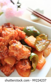 Chinese cuisine, sour and sweet spare rib with pineapple and green pepper