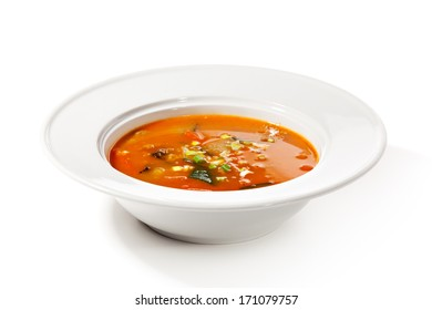 Chinese Cuisine - Tomato Soup with Beef and Mushrooms