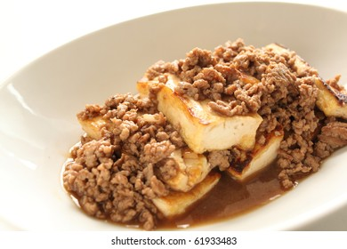 Chinese cuisine,mince beef and tofu stir fried