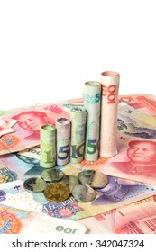 Chinese currency forming a graph with copy space, Appreciation of the Chinese yuan