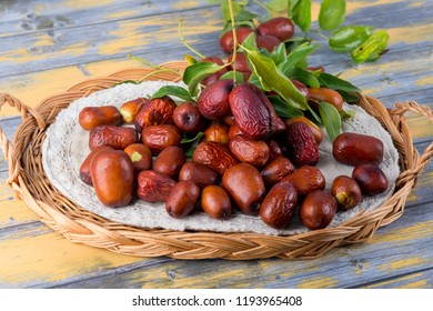 Chinese date fruits-Ziziphus jujuba fruits on a wicker tray