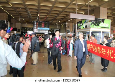 Chinese delegation arriving at Karachi Airport Jinnah international, as people of Pakistan welcome them with flowers around their necks and smiles on their faces. 16th Jan 2011
