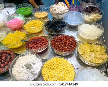 Chinese Dessert. Street food. Cheng Sim Ei ingredients Background.