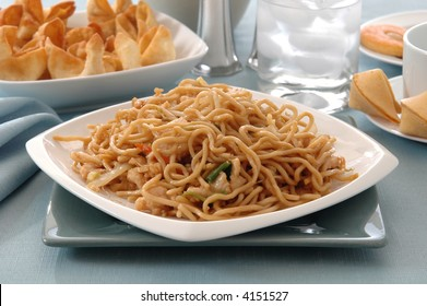 A chinese dinner of chicken lo mein