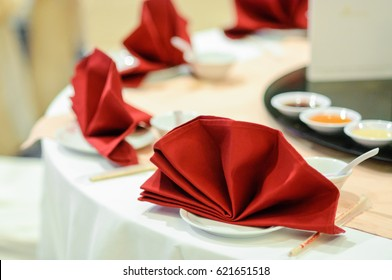 Chinese dishes decoration in a wedding ceremony.