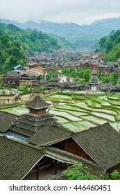 Chinese Dong Village Zhaoxing with the rice terrace from top of the hill, Province of Guizhou, China
