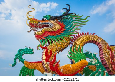 Chinese dragon with blue sky and clouds