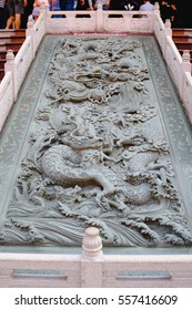 chinese dragon carve in front of Wat Leng Noei Yi Chinese temple.