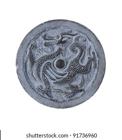 Chinese Dragon carved in stone isolated on a white background.