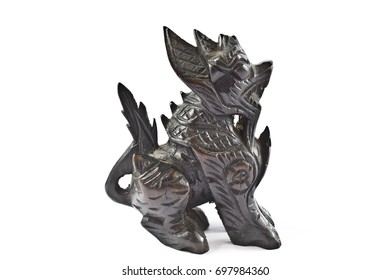 Chinese Dragon Dog Statue on White Background