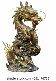 The Chinese Dragon golden  statue on white background