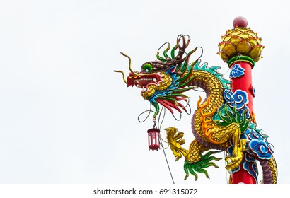 chinese dragon head on white backgrounds