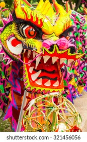 Chinese Dragon head pieces used in dances for traditional celebration./ Chinese Dragon Dance Costume.