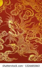 Chinese dragon painted on a wall