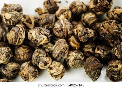 Chinese Dragon pearl, close up of Jasmine tea balls