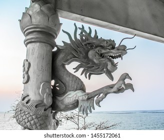 Chinese dragon sculpture with no colour painted