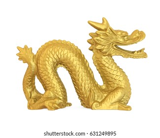 Chinese Dragon Statue Isolated. 3D rendering