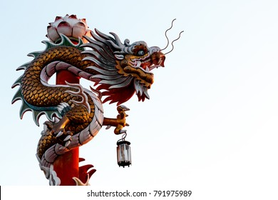Chinese dragon statue on the pole.