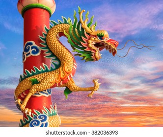 Chinese dragon, Chinese style dragon statue with twilight sky