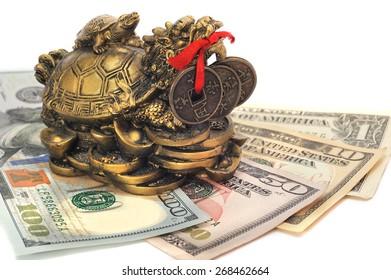 Chinese dragon turtle symbol of money on the bills