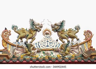 Chinese dragon-headed unicorn on white background.
