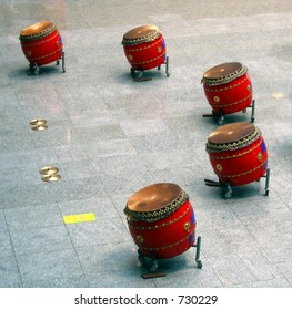 Chinese Drum Set -- this type is called Tagu in Chinese and Taiko in Japanese
