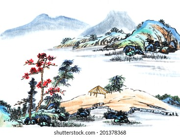 Chinese element--hill and river