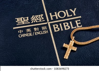 Chinese English bible with gold cross and chain.
