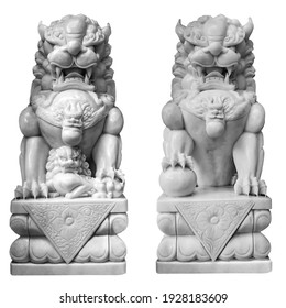 Chinese entrance Guardian Lion Foo Fu dog statue. Buddhist Stone marble Two sculpture dogs isolated on white