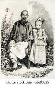 Chinese father and son, old illustration. Created by Grandsire, published on L'Illustration, Journal Universel, Paris, 1860