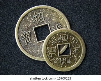Chinese feng shui coins for good fortune and success.