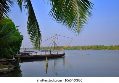 A chinese fishing net kept in Kochi backwaters.