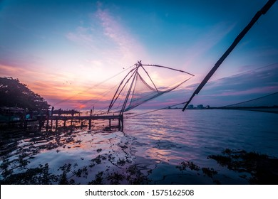 Chinese fishing net in Kerala, Kochi India