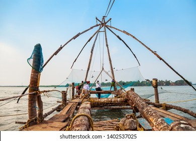 Chinese fishing nets or cheena vala are a type of stationary lift net, located in Fort Kochi in Cochin, India