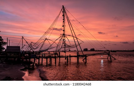Chinese fishing nets during the Golden Hours at Fort Kochi, Kerala, India