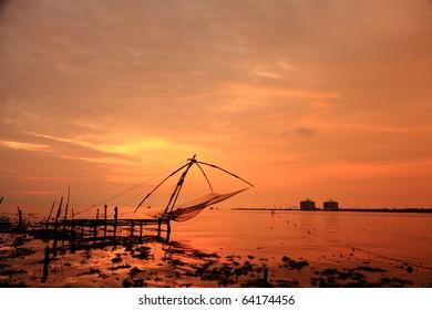 Chinese fishing nets of Kerala during sunset