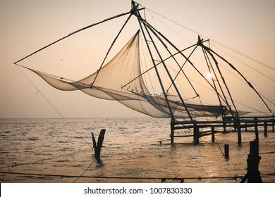 Chinese Fishing nets at sunset. Fort Kochi. Kerala. India