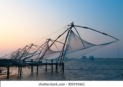 Chinese Fishing nets at sunset. Fort Kochi. Kerala. India