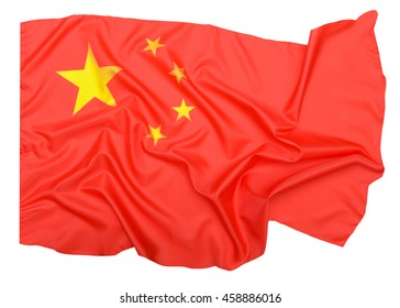 Chinese flag with clipping path
